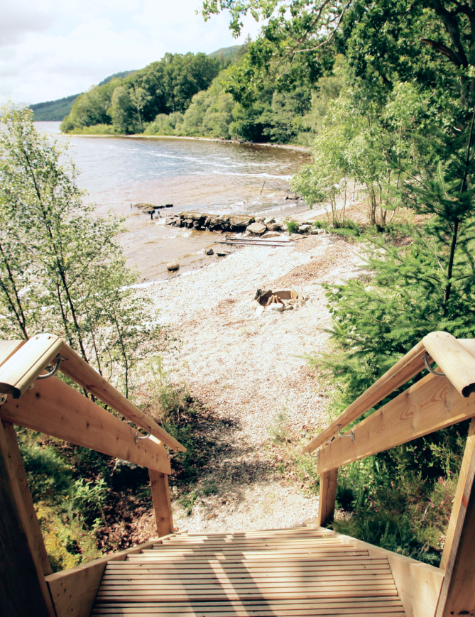 Wooden steps down to beach at Loch Ness