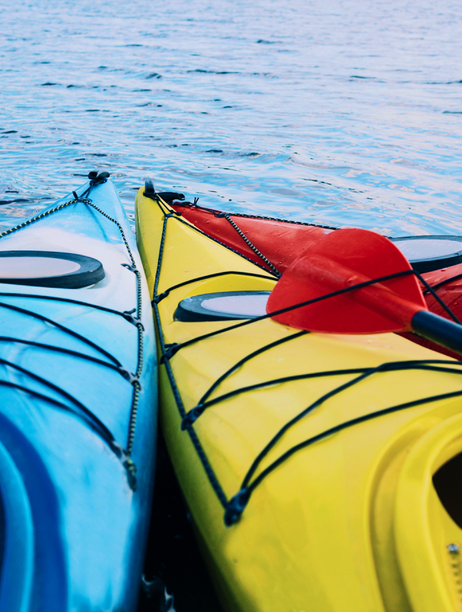 Yellow and blue kayak on Loch Ness