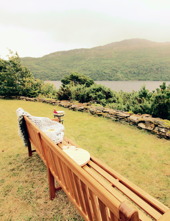 Bench in private gardens overlooking Loch Ness